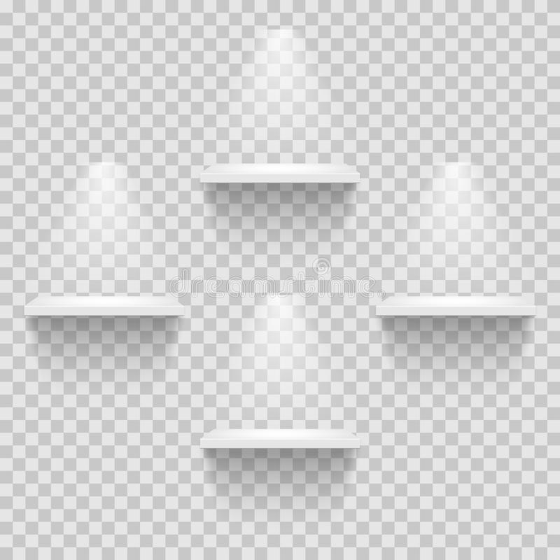 Four empty white shelves isolated on transparent background. Vector design template. stock illustration