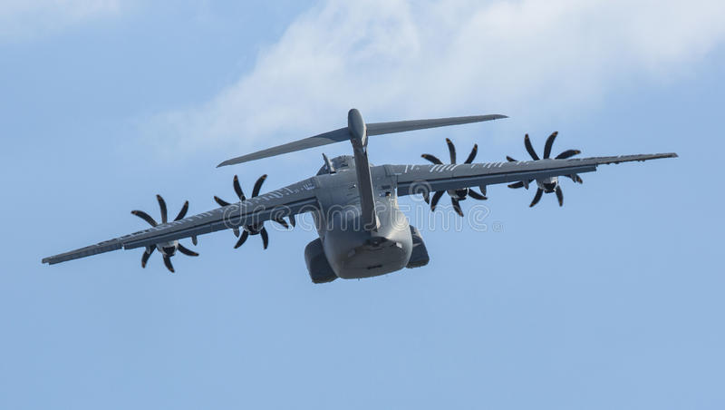 Four-engine turboprop military transport aircraft Airbus A400M (France) demonstration royalty free stock image