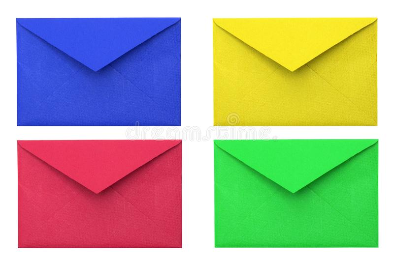 Four envelopes. Blue, red, yellow, green envelope stock photography