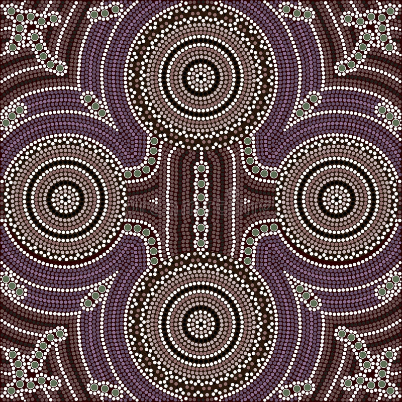 Four equal. A illustration based on aboriginal style of dot painting depicting four equal royalty free illustration