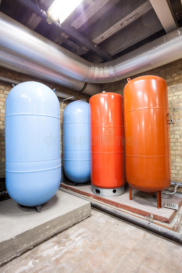 Four expansion boilers. In the basement there are four major expansion boilers stock photo