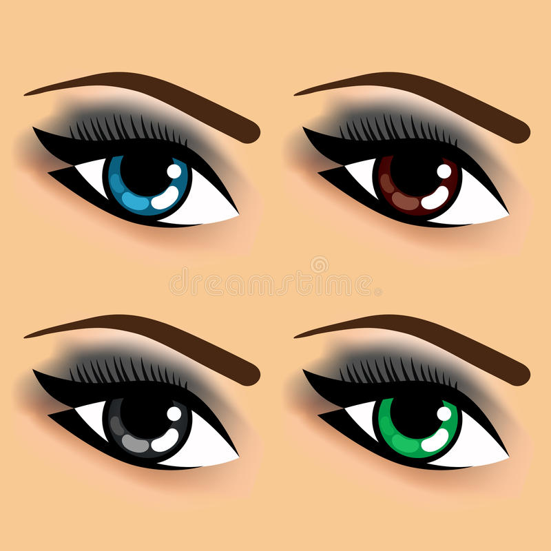 Four eyes with different eye colors stock illustration