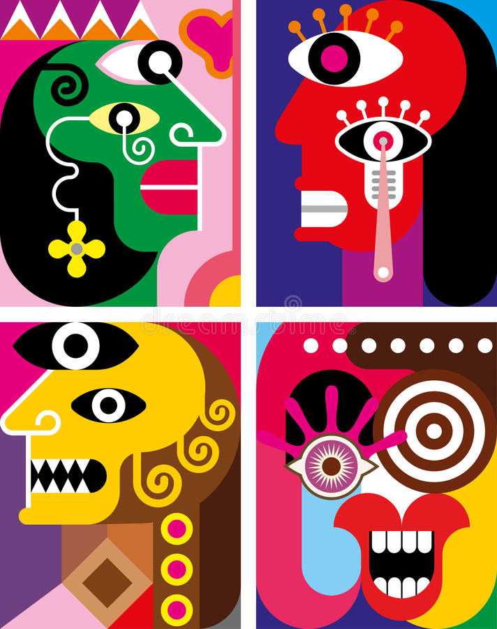 Four Faces - abstract vector illustration stock illustration