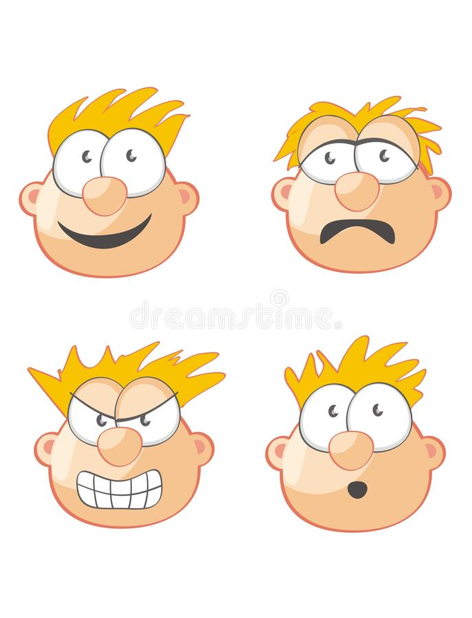 Download Four Faces and expressions stock vector. Image of faces - 24303245