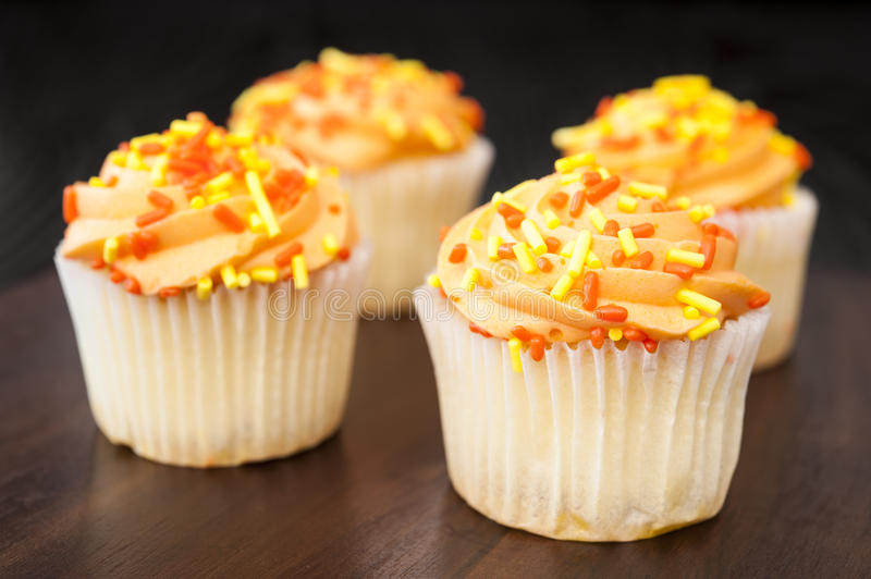 Four Fall Cupcakes royalty free stock images