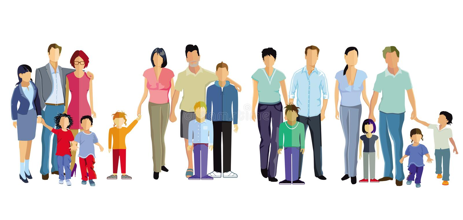 Four families royalty free stock photography