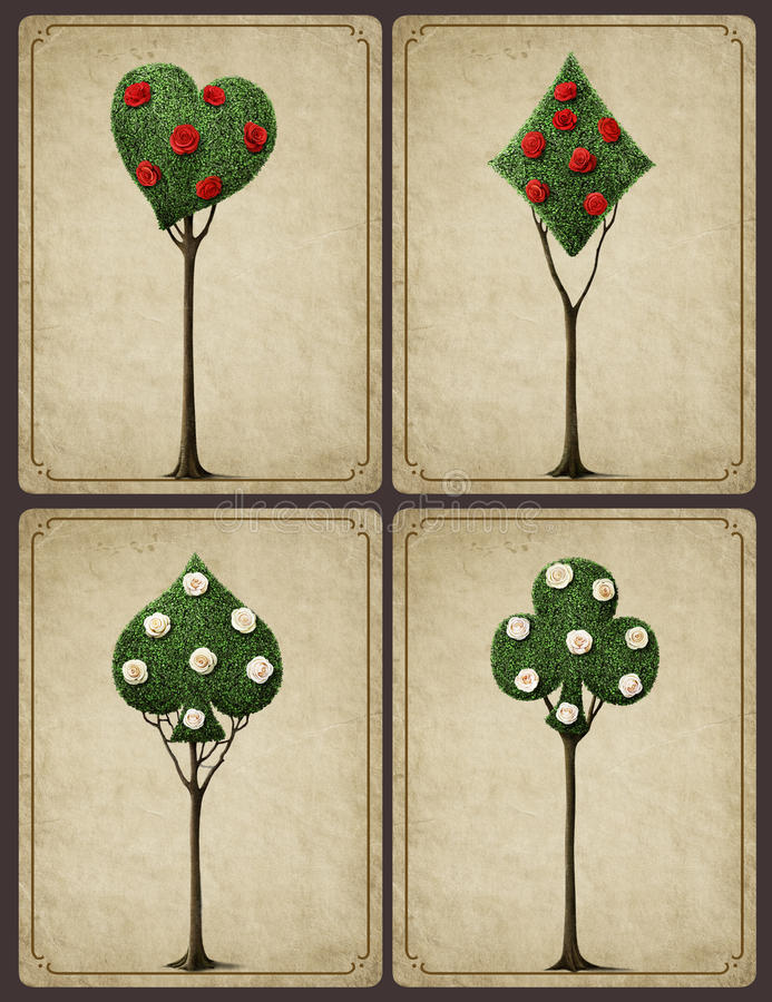 Four fancy tree. Set of four bizarre trees with card suits and roses . Computer graphics royalty free illustration