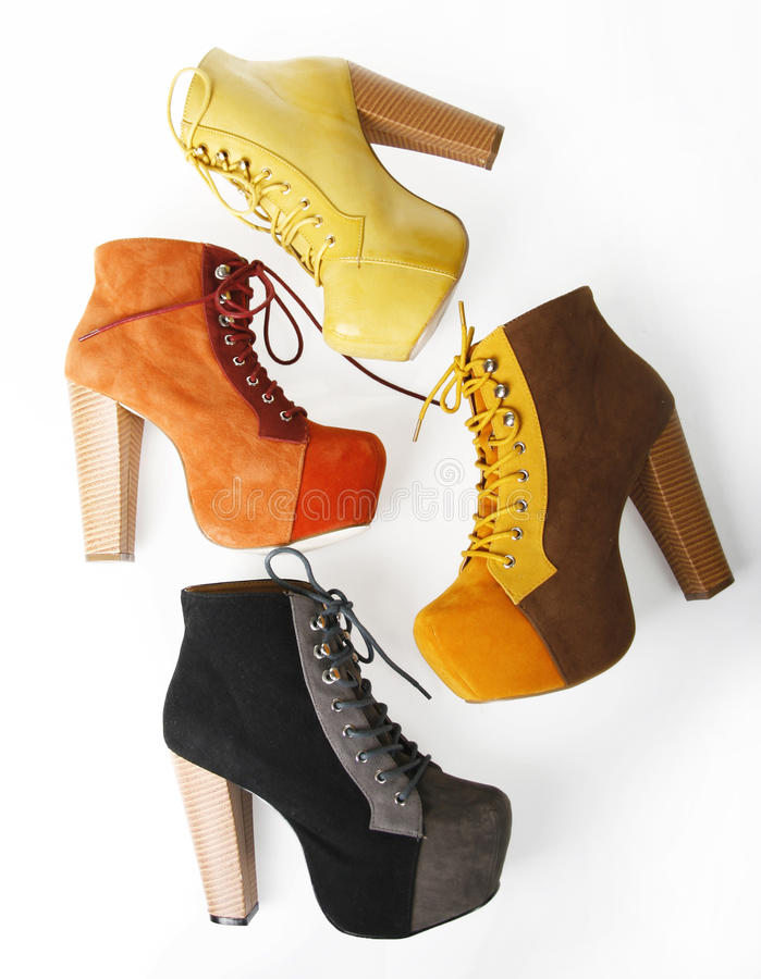 Four fashion colorful high heel shoes stock image