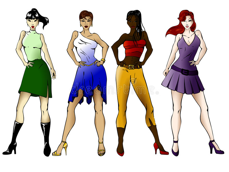 Download Four fashionable girls stock vector. Illustration of heels - 6641974