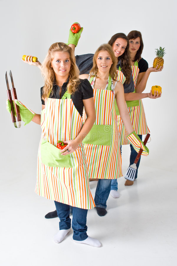Download Four Female Cooks stock image. Image of chefs, colorful - 4931425