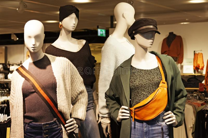 Four female models wearing modern autumn clothing for this year royalty free stock photo