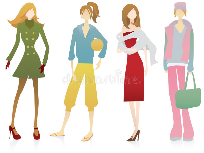 Four female personages. In various style royalty free illustration