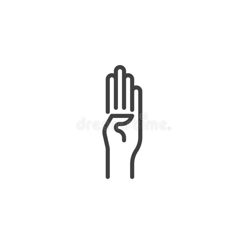 Four finger hand gesture vector icon royalty free illustration