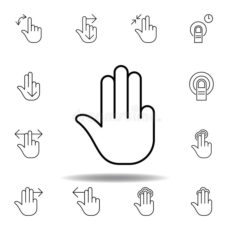 four fingers gesture outline icon. Set of hand gesturies illustration. Signs and symbols can be used for web, logo, mobile app, UI vector illustration