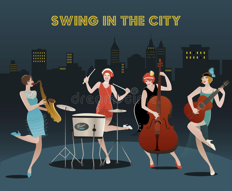 Four flapper girls orchestra royalty free illustration