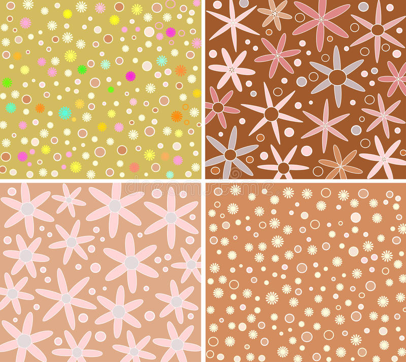 Four floral backgrounds stock photos