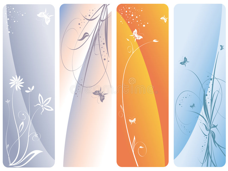 Four floral vector banners stock photo