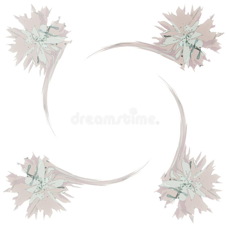 Four Flower White Note or Letter Paper Abstract Background royalty free illustration