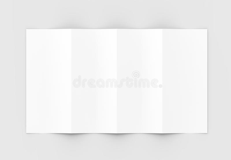 Four folded - 4-Fold - vertical brochure mock-up isolated on soft gray background. 3D illustrating. Four folded - 4-Fold - vertical brochure mock-up isolated on royalty free stock images