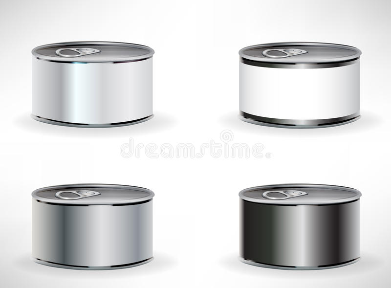 Four food cans stock illustration