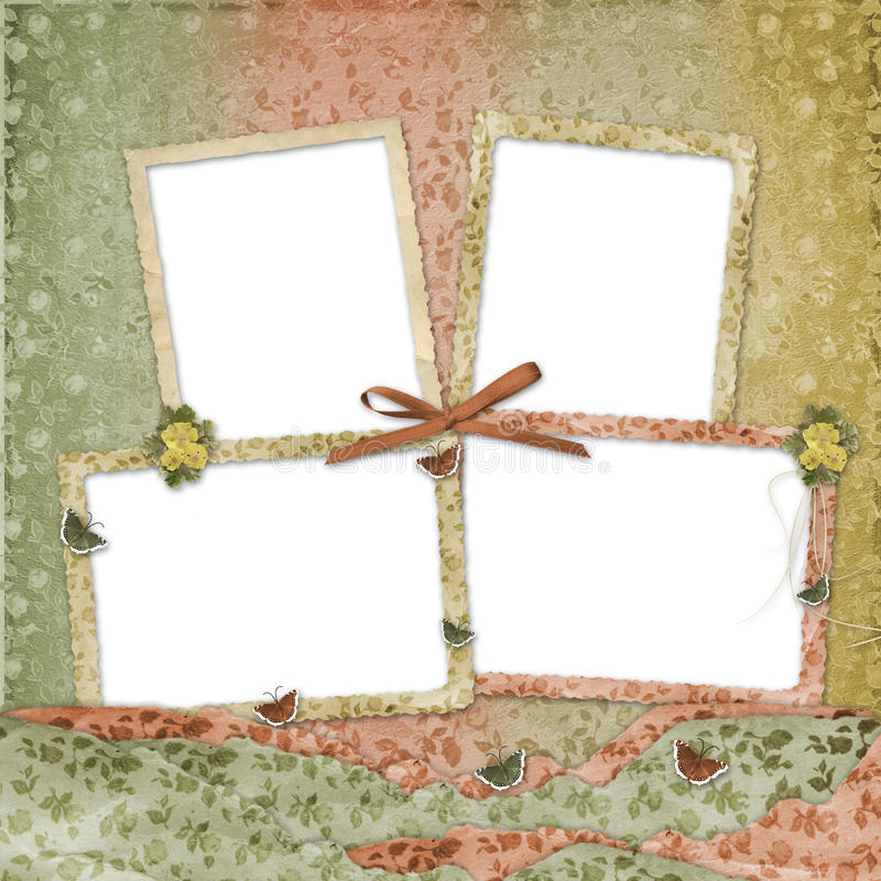 Four frames with ribbons and bow stock illustration