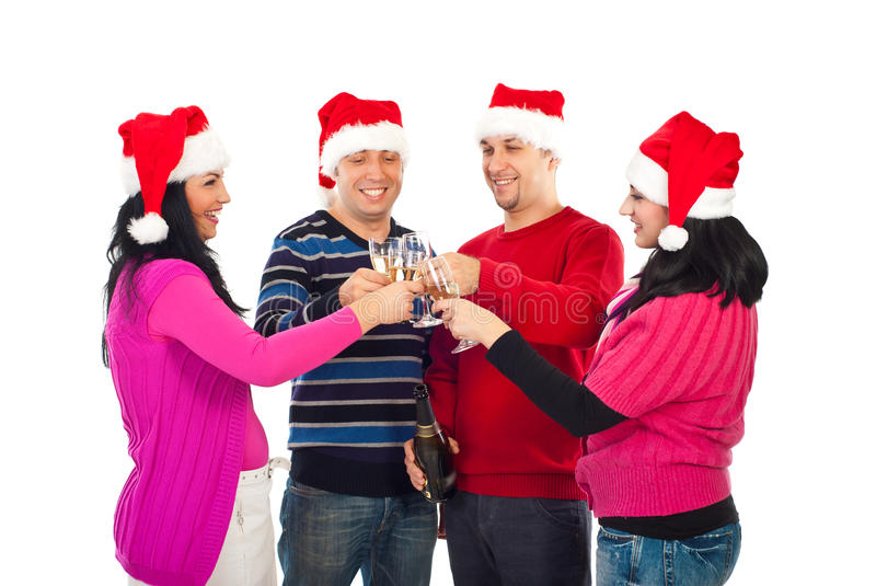 Four friends cheers for Christmas royalty free stock photography