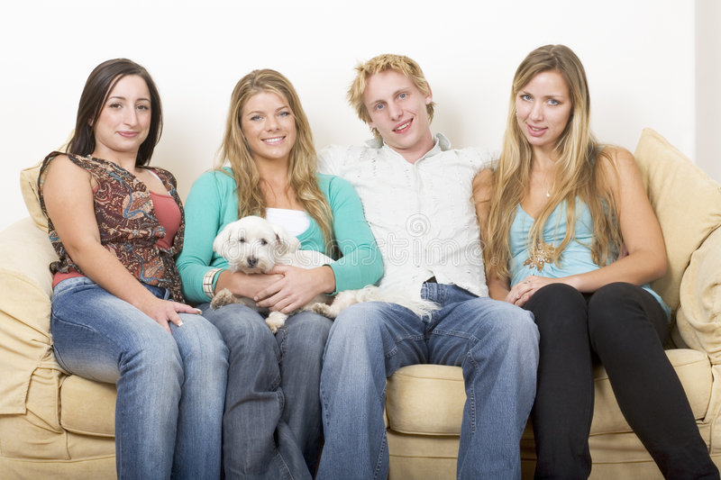 Four friends and a dog royalty free stock photos