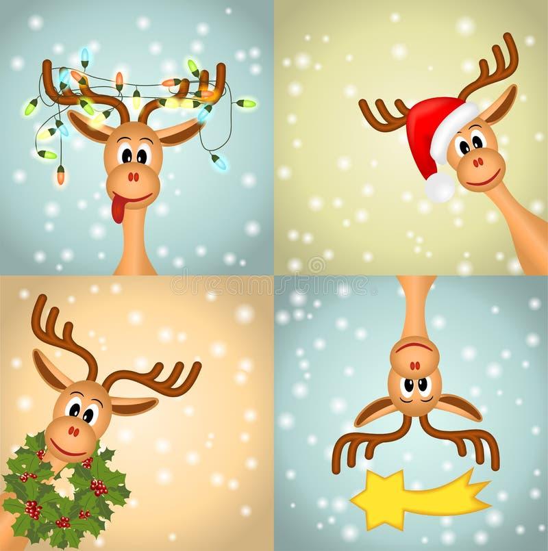 Four funny christmas reindeer stock illustration