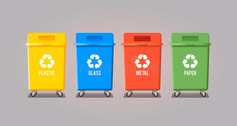 Four garbage containers royalty free illustration