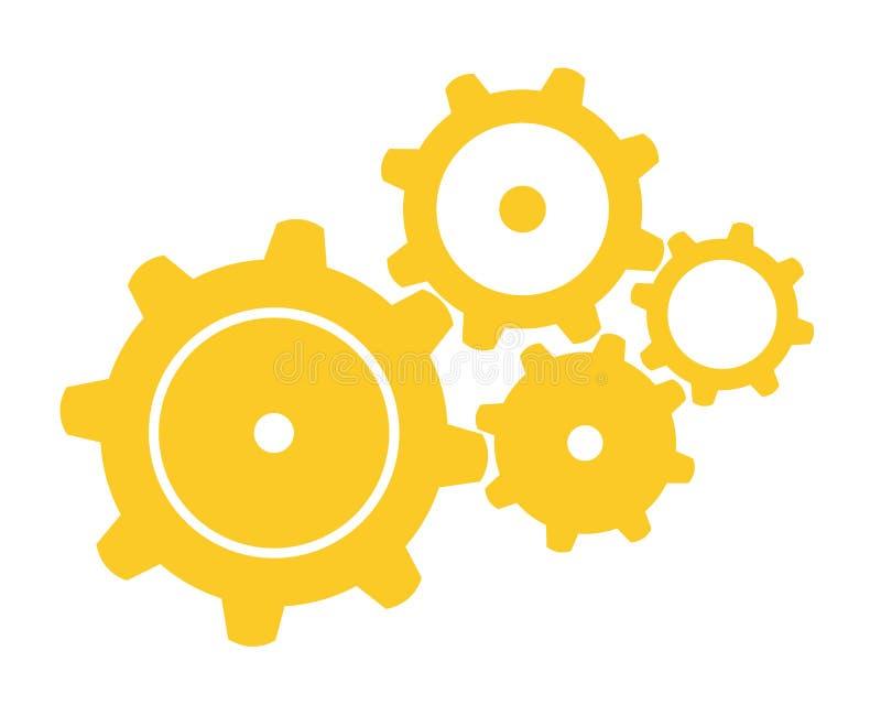 Four Gears. Vector illustration of four orange gears stock illustration