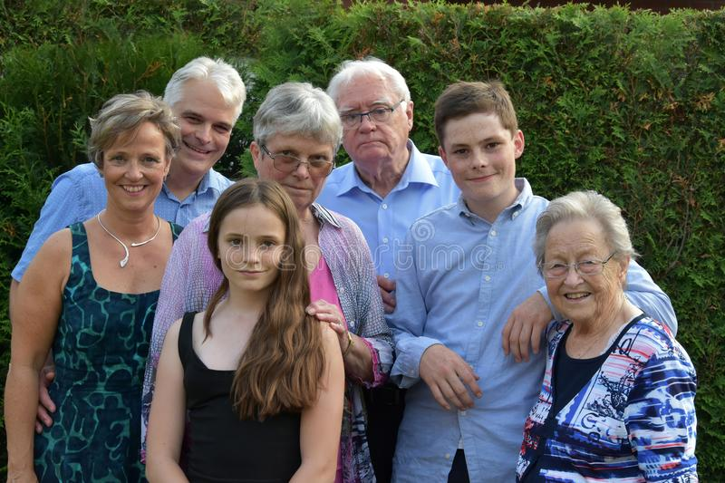 Family photo with several generations stock photo