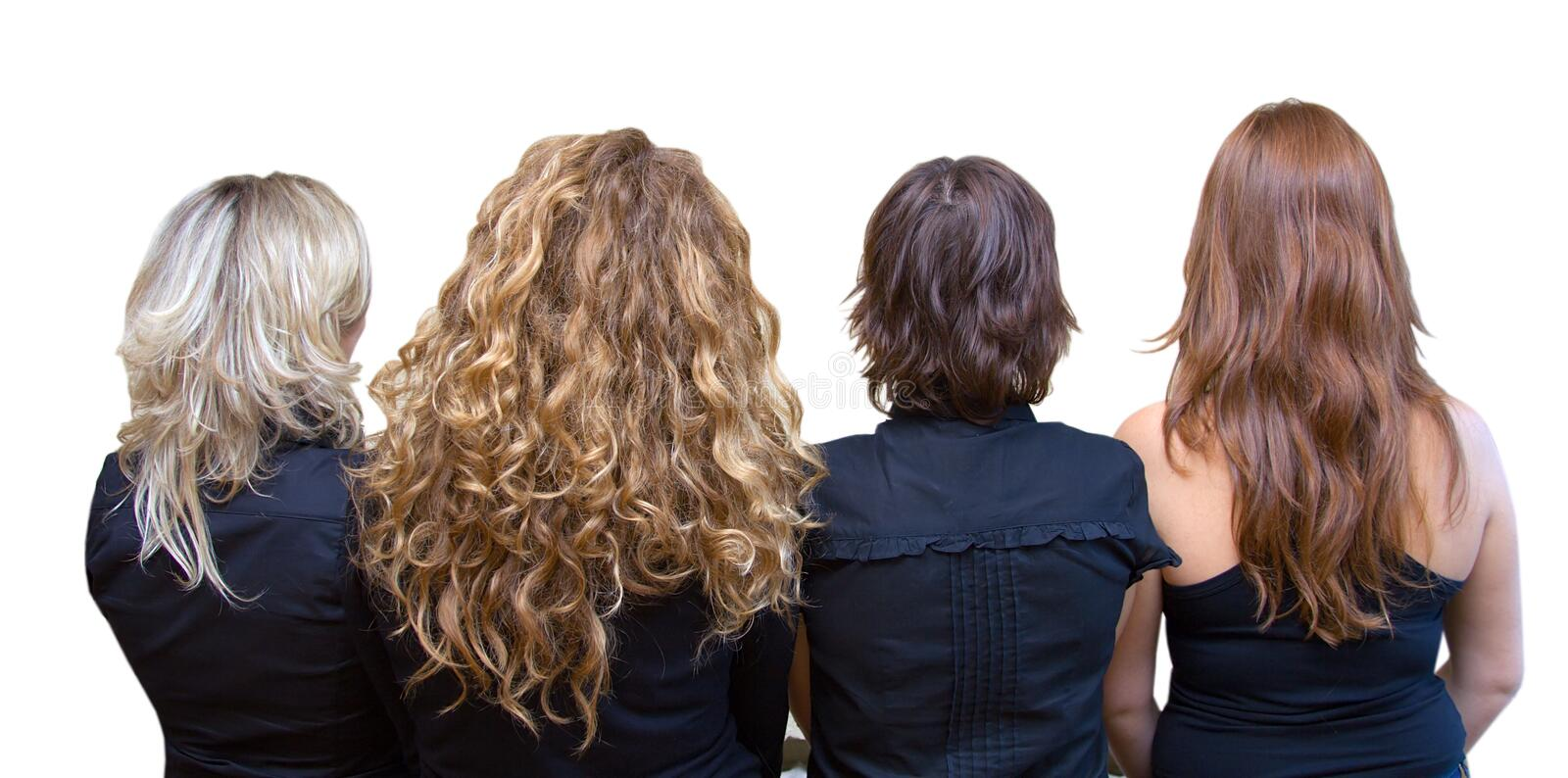 Four girls, four hair colours. Blond, chestnut, brunette, redhead. Isolated royalty free stock photography