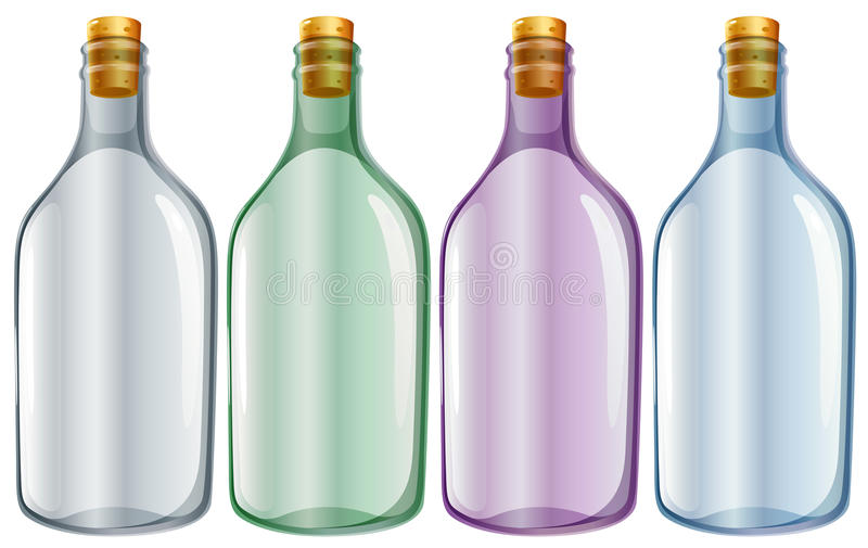 Four glass bottles stock illustration