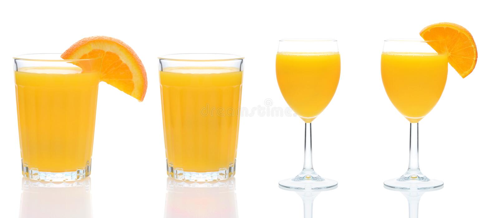 Four glasses of Fresh Squeezed Orang Juice with reflection isolated on white stock images
