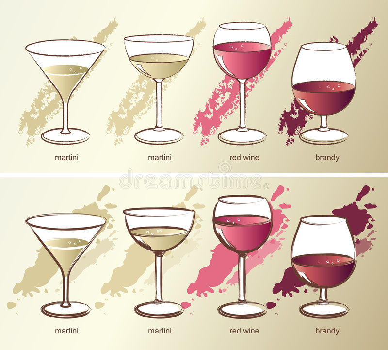 Four glasses, vector vector illustration