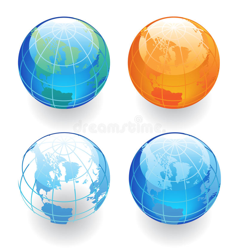 Download Four Globes stock vector. Illustration of graphic, buttons - 13451816