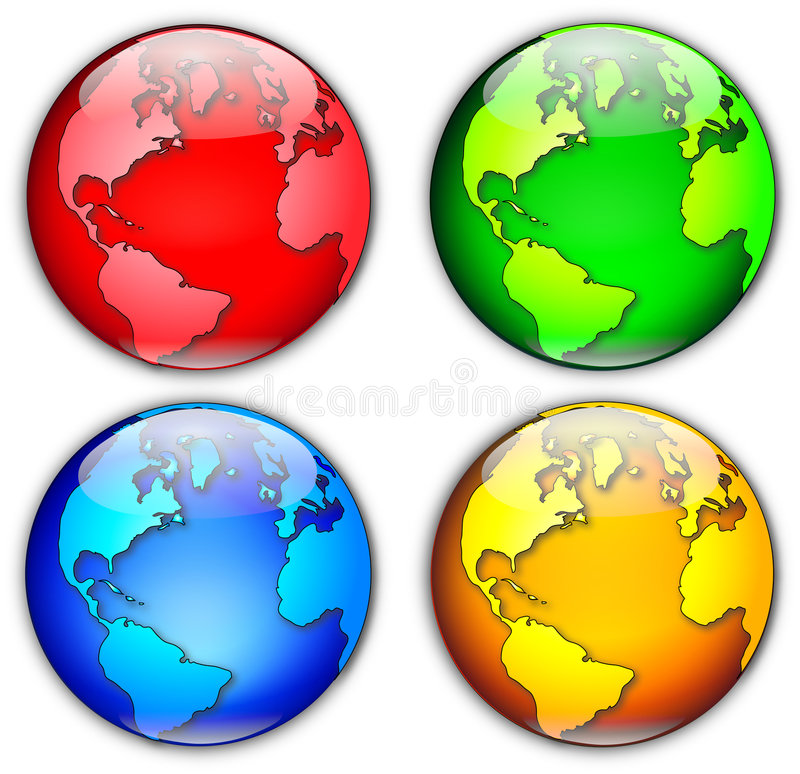 Four Globes Illustration royalty free illustration