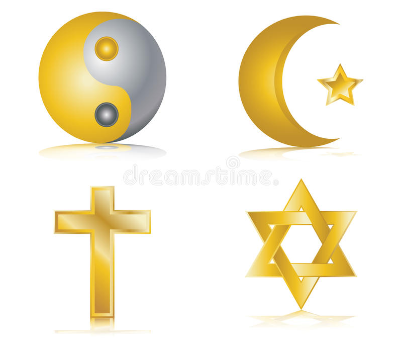 Four gold glossy icons for different religions. Illustration stock illustration