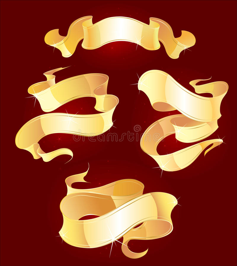 Download Four gold ribbons stock vector. Image of luminous, festive - 11753845
