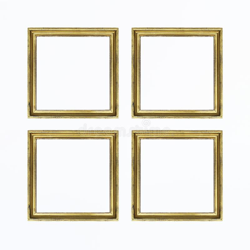 Four gold square frames for painting or picture on white background. Isolated. Add your text. royalty free stock photos