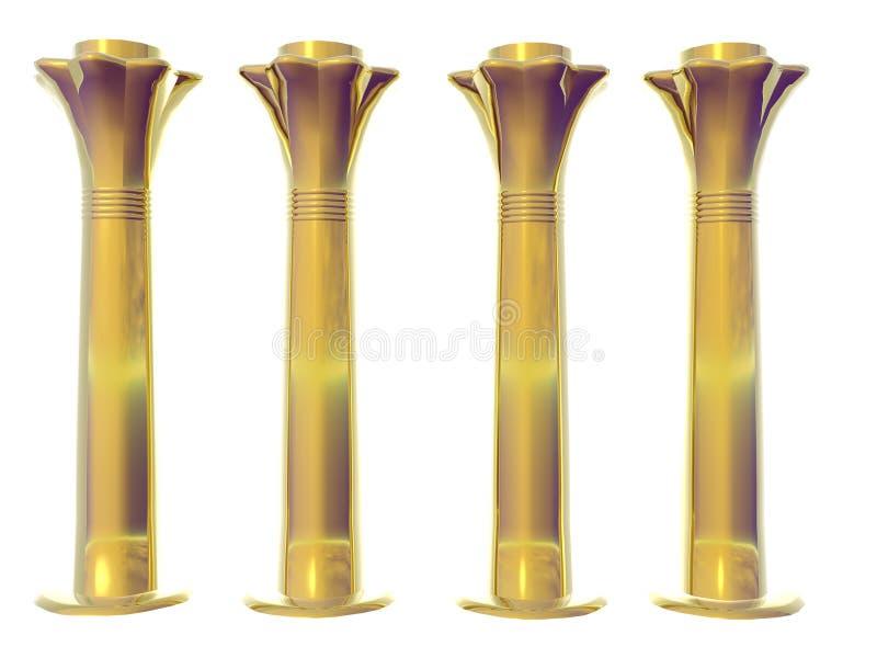 Four Golden Egyptian Columns stock photos