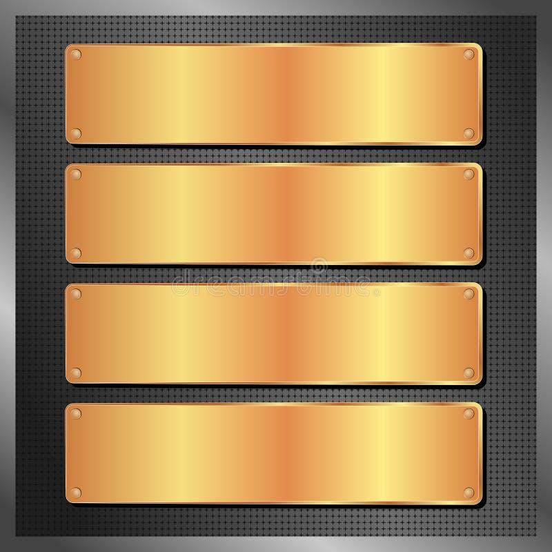 Golden plates. Four golden plates on black background royalty free illustration