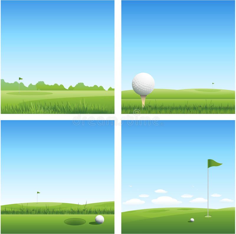 Four golf backgrounds royalty free illustration