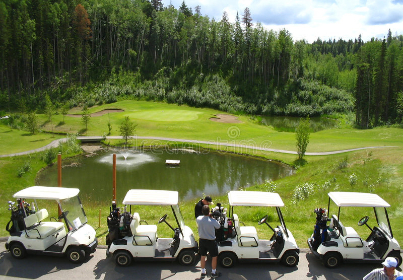 Download Four Golf Carts Infront Of Fountain Stock Photo - Image of golfcourse, fountain: 172036