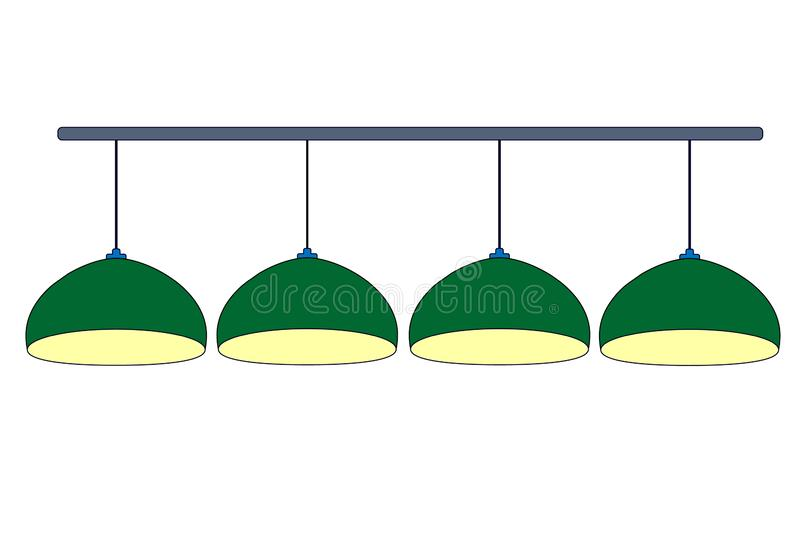 Four green billiard lamps close up with yellow light. Row green hanging 4 lamps billiard for lighting of pool table.  Isolated on. White background. Vector vector illustration