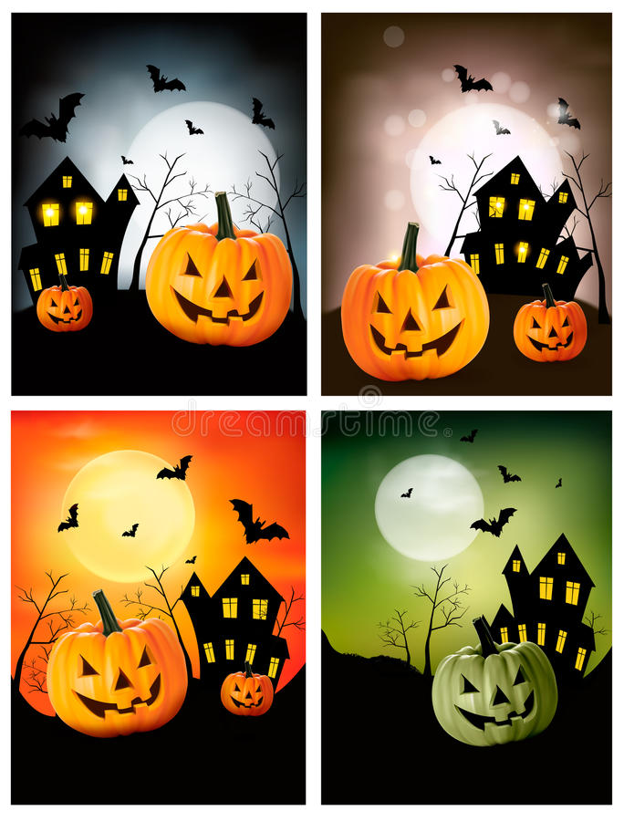 Download Four Halloween banners stock illustration. Illustration of night - 26921472
