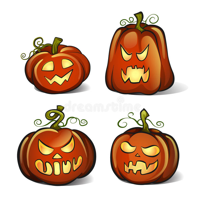 Four Halloween pumpkins isolated on white background royalty free stock photography
