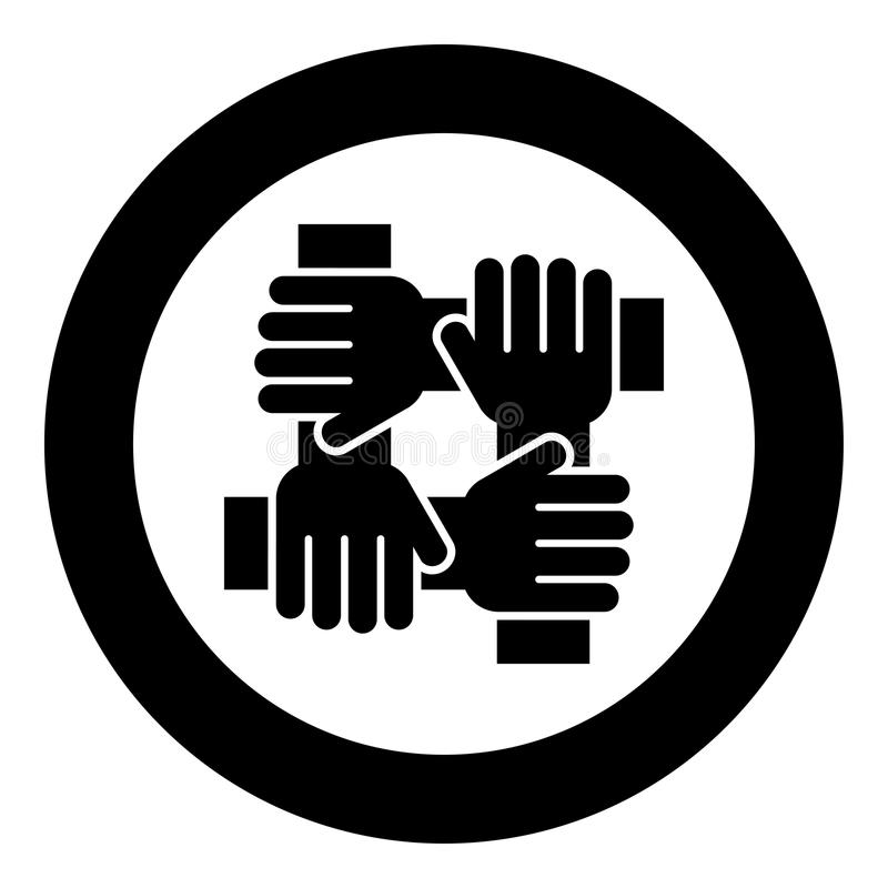 Four hand holding together team work concept icon black color in circle round stock illustration