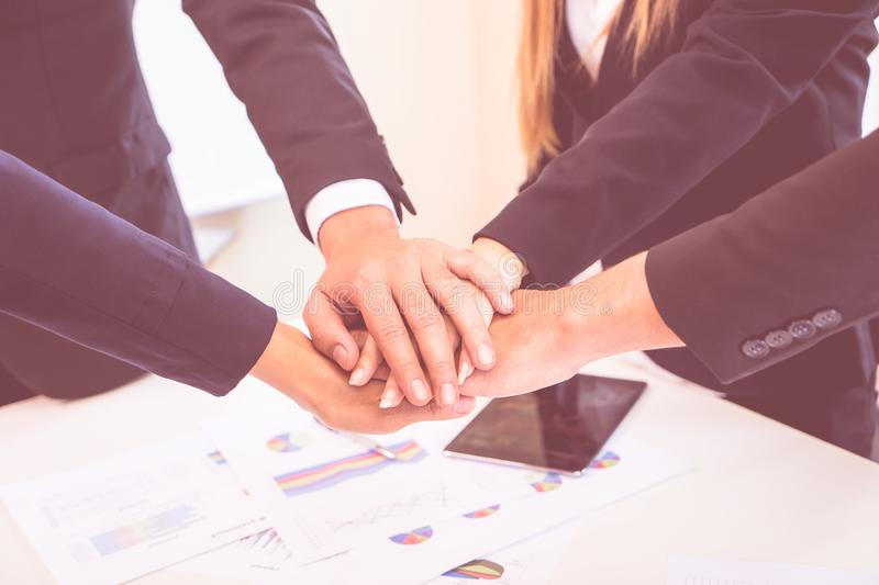 Four hand together business meeting for team concept royalty free stock photography