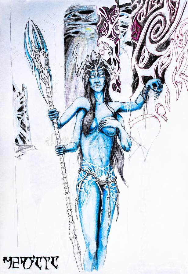 Four-handed woman from the planet Pandora. Blue avatar man. Elf girl is very beautiful with tits and four arms stock illustration